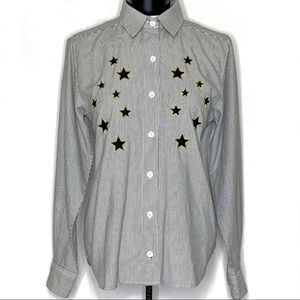 1990's Vintage Embroidered Stars Pinstriped Shirt